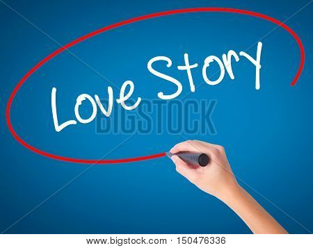 Women Hand Writing Love Story With Black Marker On Visual Screen