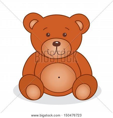 Cute teddy bear. Vector illustration. Isolated on white
