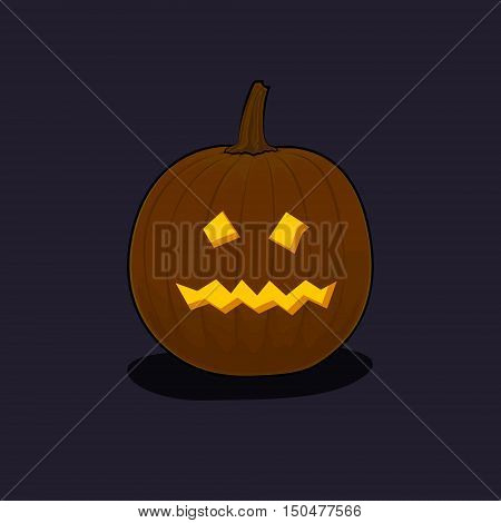 Carved Terrible Scary Halloween Pumpkin on Dark Background, a Jack-o-Lantern, Vector Illustration