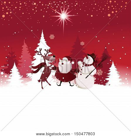 Funny Christmas background with Santa Claus, reindeer and snowman - vector illustration