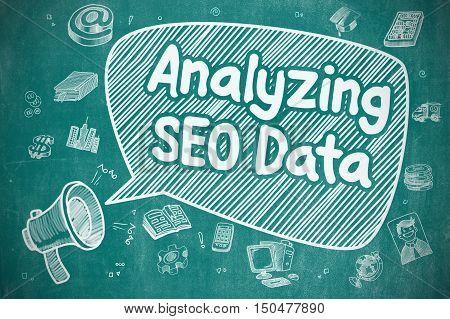 Analyzing SEO Data on Speech Bubble. Hand Drawn Illustration of Shrieking Megaphone. Advertising Concept.