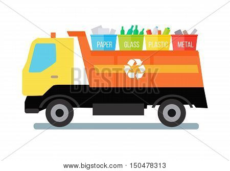 Garbage truck transporting colored recycle waste bins with paper, glass, plastic, metal. Garbage tipper with trash. Waste recycling concept. Cargo truck. Vector illustration in flat style design.