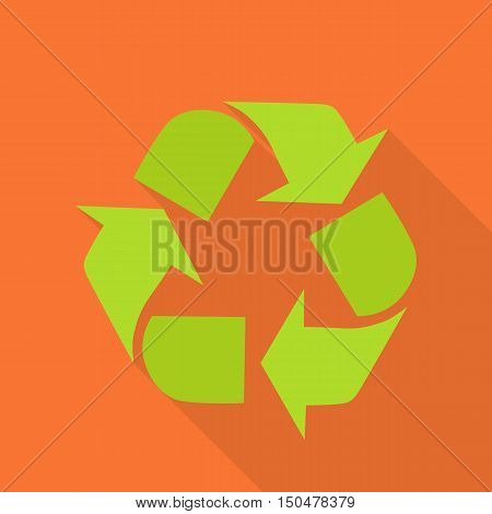 Sign of recycling. Recycling icon in flat. Green recycle symbol isolated on red background. Waste recycling. Environmental protection. Vector illustration.