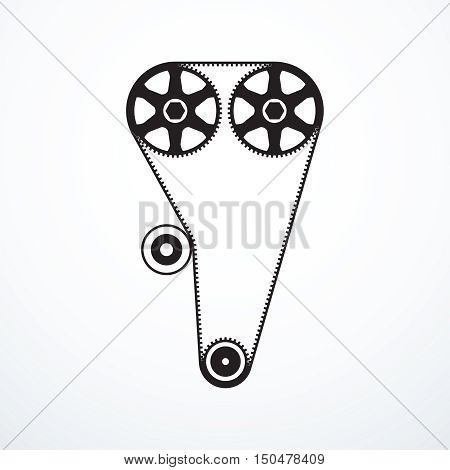 Timing belt icon. Vector illustration eps 10.