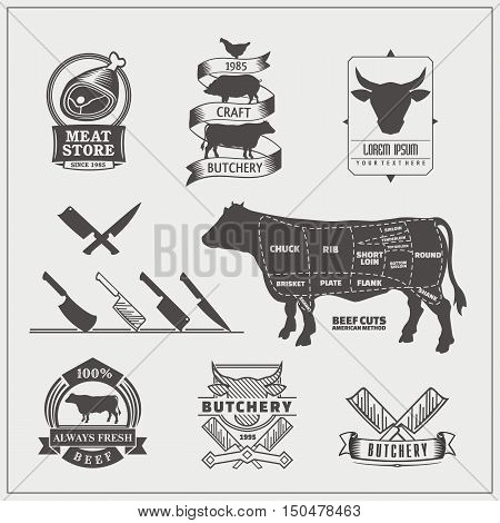 American cuts of beef. Vector set of beef emblems, labels, knives and design elements.