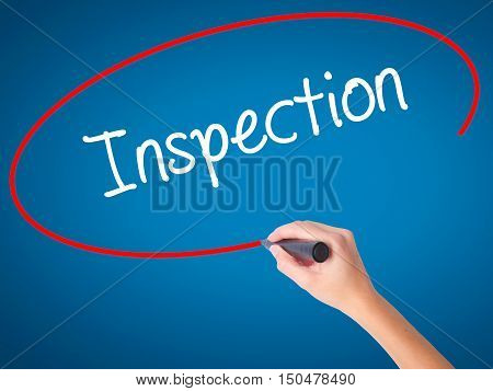 Women Hand Writing Inspection With Black Marker On Visual Screen