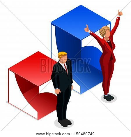 Us Election 2016 winner news. Democrat candidate win infographic. Vote pools result. Usa Presidential debate symbol isolated vector icon. Trump opponent debate result flat chart