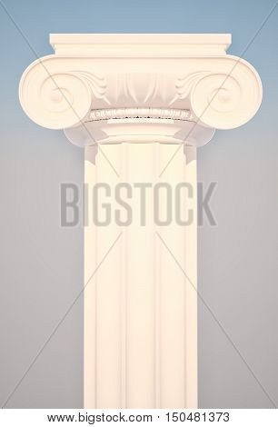 Greek Ionic Column against the background of the sky. 3D illustration