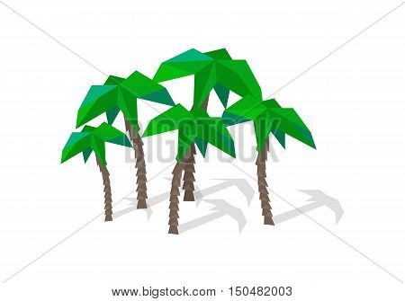 Palm trees with shadow. Coconut palm trees. Palm icon. Group of palm trees in flat. Polygonal origami tree icon. Isolated object in flat design on white background.