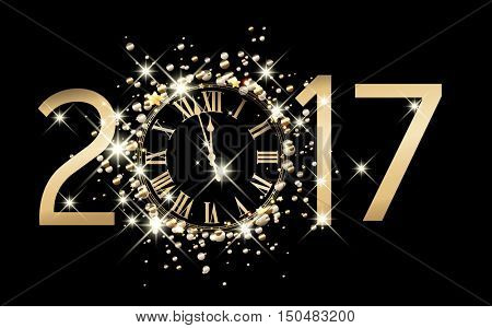 2017 new year black background with clock. Vector illustration.