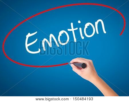 Women Hand Writing Emotion With Black Marker On Visual Screen