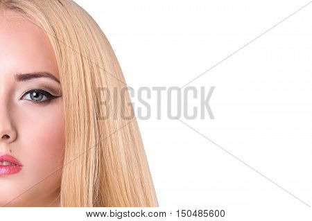 Half-face portrait of beautiful sensitive woman on gray background. copy space. Beauty Woman face Portrait. isolated on white background