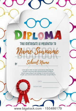 Diploma template for kids, school, preschool, playschool, certificate background wit colorful reading glasses. Vector illustration.