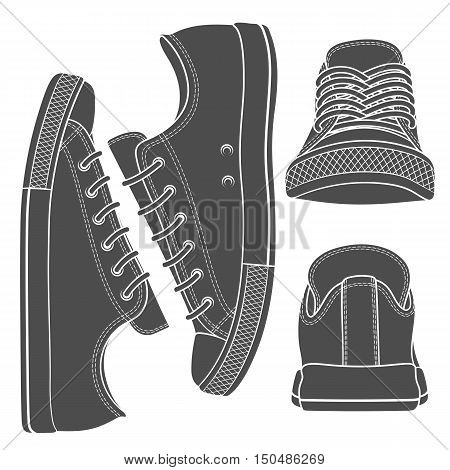 Vector set with sneakers, gumshoes. Isolated objects.