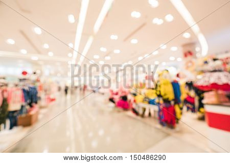 Blurred background of modern department store, clothing shops