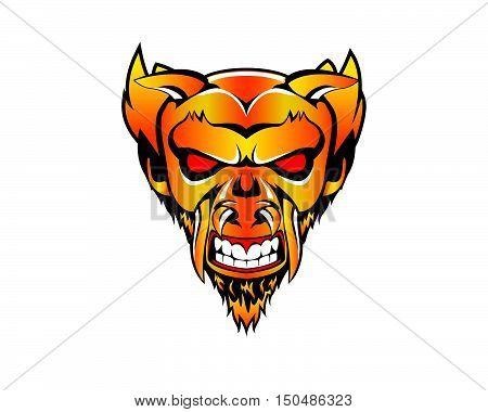 Demon Satan beast Devil furious monster mascot character logo