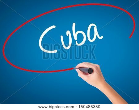 Women Hand Writing Cuba With Black Marker On Visual Screen
