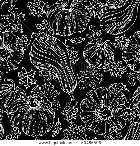 Vector Seamless Chalk Pumpkin Pattern.