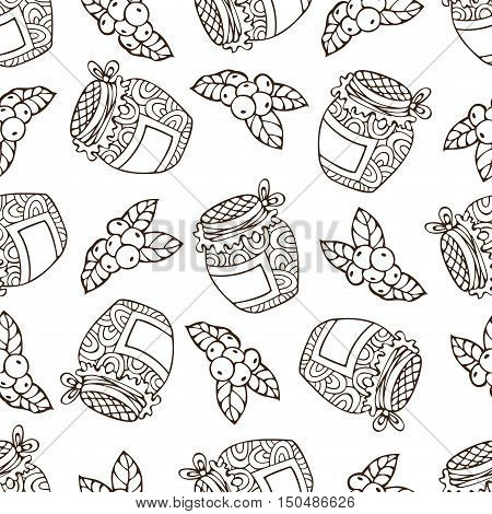 Vector Seamless Sketch Berry Pattern.