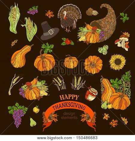Vector Set Of Thanksgiving Design Elements.