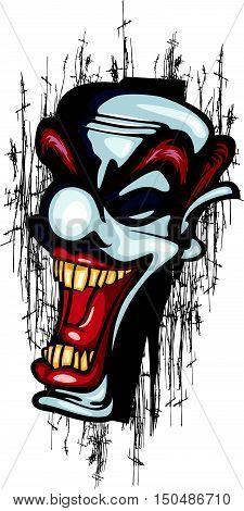 Clown Laughing Vector Tattoo Joker scary circus scratch grunge