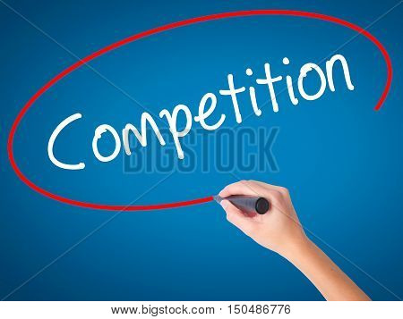 Women Hand Writing Competition  With Black Marker On Visual Screen