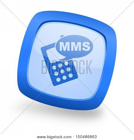 mms blue glossy web design icon