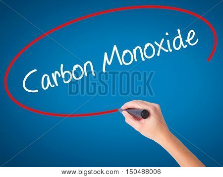 Women Hand Writing Carbon Monoxide  With Black Marker On Visual Screen