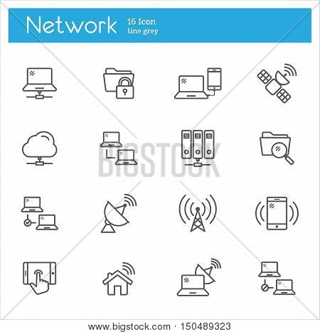 Set of flat icons icons on the data subject the cloud computing system Internet access protection of technical tools password.