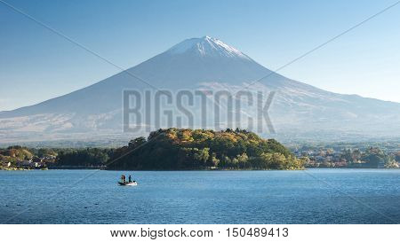 Fuji mountain with boat at Kawaguchiko, Japan