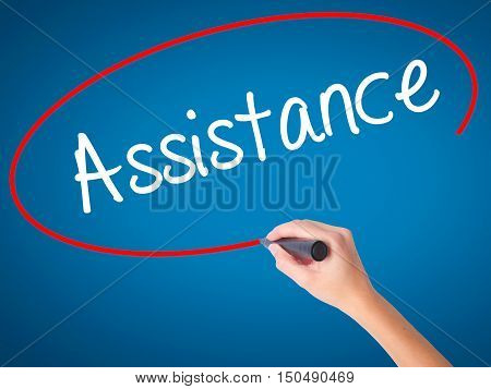 Women Hand Writing Assistance With Black Marker On Visual Screen