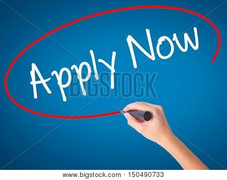 Women Hand Writing Apply Now With Black Marker On Visual Screen
