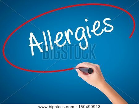 Women Hand Writing Allergies With Black Marker On Visual Screen