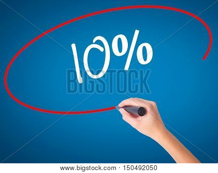 Women Hand Writing 10%  With Black Marker On Visual Screen