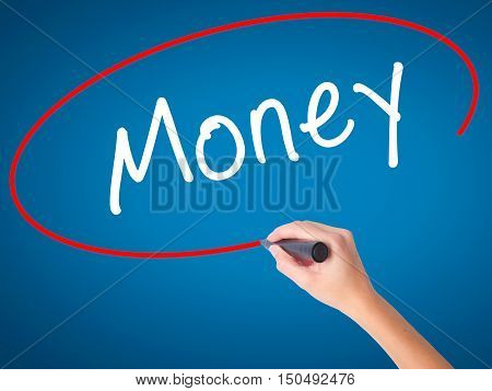 Women Hand Writing Money With Black Marker On Visual Screen