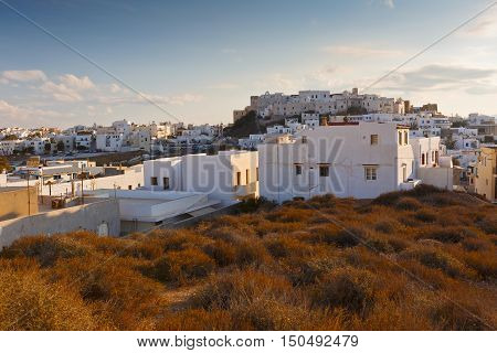 NAXOS, GREECE - SEPTEMBER 22, 2016: View of the castle in town of Naxos on September 22, 2016.