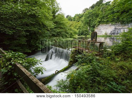 A long exposure at Cressbrook Weir and a millpond in the Peak District Derbyshire