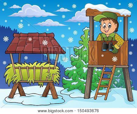 Forester winter theme 4 - eps10 vector illustration.