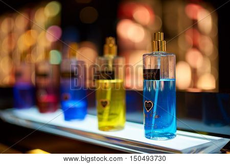 SINGAPORE - SEPTEMBER 12, 2016: bottles of fragrance mist are displayed at Victoria's Secret store. Victoria's Secret sells lingerie, womenswear, and beauty products.