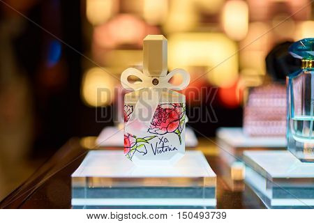 SINGAPORE - SEPTEMBER 12, 2016: close up shot of a bottle of perfume at Victoria's Secret store. Victoria's Secret sells lingerie, womenswear, and beauty products.