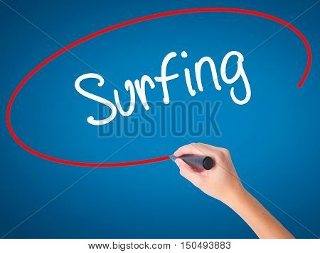 Women Hand Writing Surfing  With Black Marker On Visual Screen