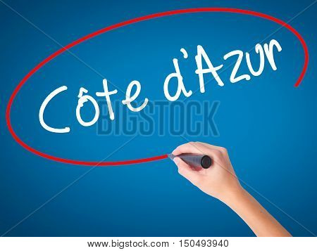 Women Hand Writing C�´te D'azur With Black Marker On Visual Screen