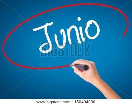 Women Hand Writing Junio (june In Spanish)   With Black Marker On Visual Screen