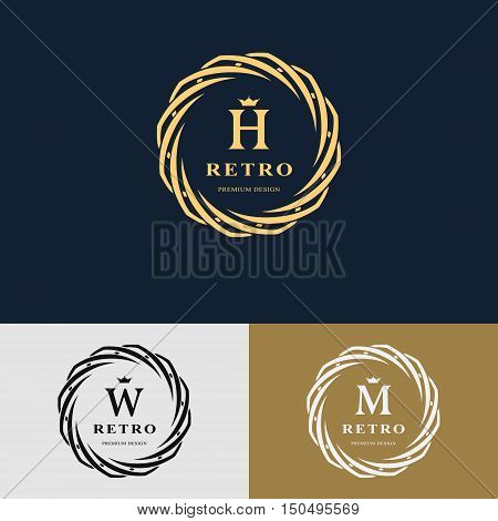 Emblem of the weaving circle. Monogram design elements graceful template. Simple logo design Letter H W M for Royalty business card Boutique Hotel Heraldic Web design. Vector illustration