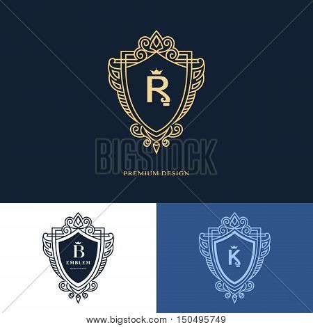 Line graphics monogram. Elegant art logo design. Letter R B K. Graceful template. Business sign identity for Restaurant Royalty Boutique Cafe Hotel Heraldic Jewelry Fashion. Vector elements