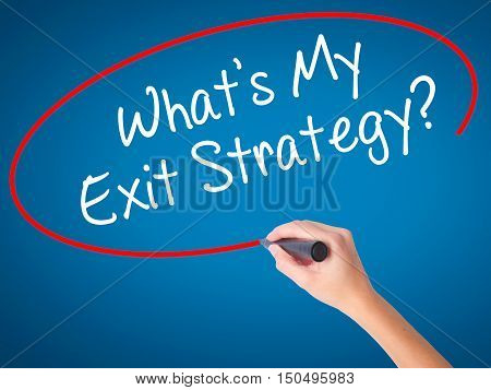 Man Hand Writing What's My Exit Strategy? With Black Marker On Visual Screen