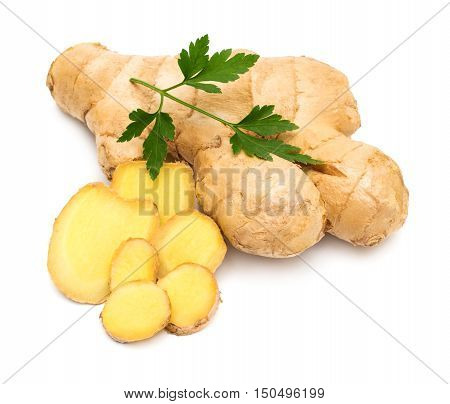 Fresh ginger root with parsley isolated on white background