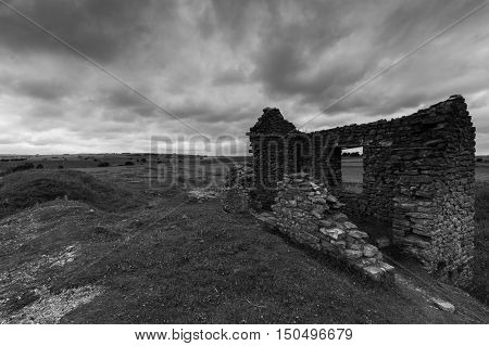 A derelict building at a disused mine Magpie Mine in the Peak District