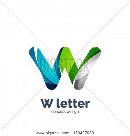 W letter logo, modern abstract geometric elegant design, shiny light effect. Created with flowing waves