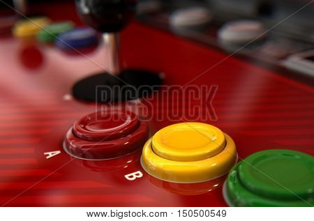 A 3D render of a vintage computer game machine control surface with joysticks and various colored buttons on a reflective decal surface